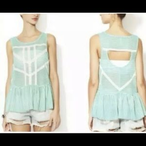 NWOT S Free People Mint Lace Peplum Top